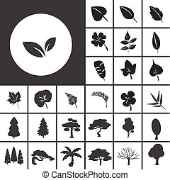 list, a, strom, ikona