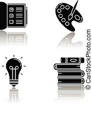 list., craft., スペース, checkboxes, ベクトル, 山, set., パレット, 低下, glyph, 趣味, notebook., 開いた, 黒, 隔離された, イラスト, brush., 白いペンキ, 創造的, 芸術家, アイコン, books., 仕事, 影