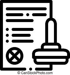 List Denial Stamp Icon Vector Outline Illustration - List ...