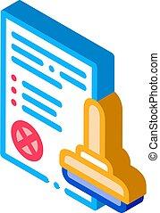 List Denial Stamp isometric icon vector illustration - List ...