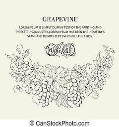 list., desenho, vinho