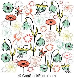 list, i kdy, květ, dát, 4, pastel barva