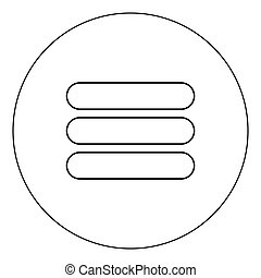 List icon black color in circle vector illustration isolated