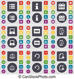List, Information, Calendar, Laptop, Cassette, SMS, Scales, Reload, File icon symbol. A large set of flat, colored buttons for your design. Vector