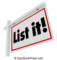 List It Real Estate Sign Home House for Sale Selling Moving