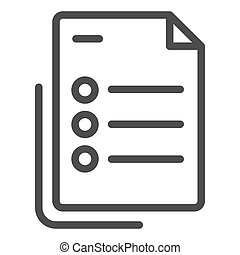List line icon. Questionnaire document vector illustration isolated on white. Checklist with points outline style design, designed for web and app. Eps 10.