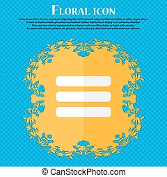 List menu, Content view options . Floral flat design on a blue abstract background with place for your text. Vector