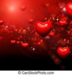 list miłosny, abstrakcyjny, tapeta, valentine, tło., serca, czerwony