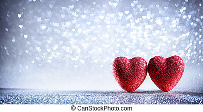 list miłosny, -, dwa, tło, serca, błyszczący, srebro, karta