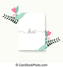 list miłosny, ilustracja, wektor, tło, dzień, design.