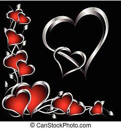 list miłosny, srebro, tło, serca, dzień, czerwony