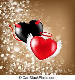 list miłosny, tło, z, serca