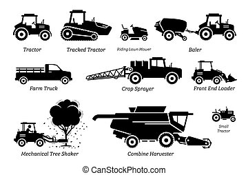 List of agriculture farming vehicles, tractors, trucks, and machines.