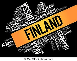 List of cities and towns in Finland, word cloud collage,...