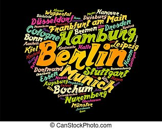 List of cities and towns in Germany word cloud collage