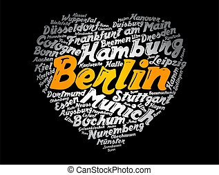 List of cities and towns in Germany word cloud