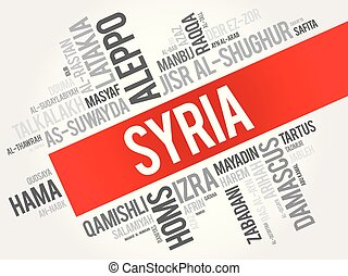 List of cities and towns in Syria, word cloud collage, ...