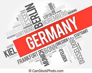 List of cities in Germany, word cloud