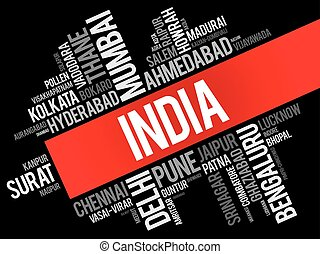 List of cities in India word cloud collage, business and...