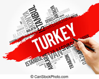 List of cities in Turkey word cloud collage, business and ...