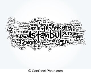 List of cities in Turkey word cloud map