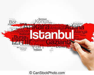 List of cities in Turkey word cloud map, concept background