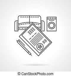 List of rent objects flat line vector icon