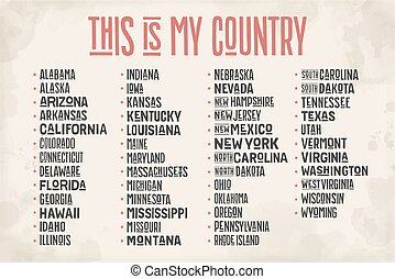 List of states of United States of America