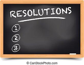 List Resolutions - detailed illustration of a blackboard...