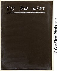 list - to do list written on a blackboard