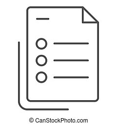 List thin line icon. Questionnaire document vector illustration isolated on white. Checklist with points outline style design, designed for web and app. Eps 10.