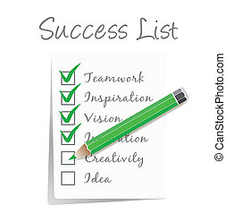 lista, cheque, éxito