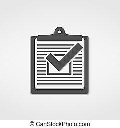 lista, cheque, ícone