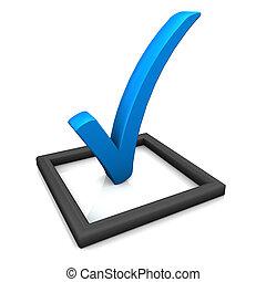 lista cheque, símbolo, azul