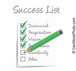 lista, cheque, sucesso