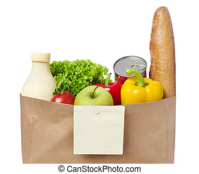 lista, compras, comestibles, bolsa