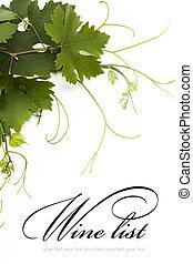 lista, conceito, desenho, vinho