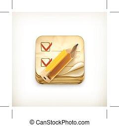 lista conferição, ícone