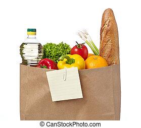 lista de compras, comestibles, bolsa