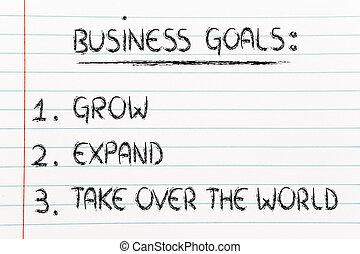 lista, de, empresa / negocio, goals:, crecer, aumentar,...