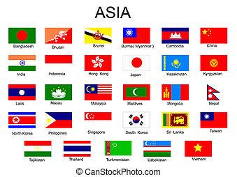 lista, de, tudo, asiático, país, bandeiras, sem, meio, ásia