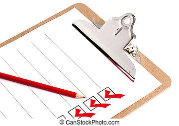 lista de verificação, área de transferência