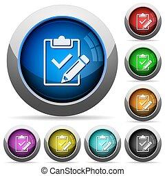 lista de verificação, botão, jogo, preencher, saída