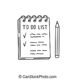 lista de verificação, coisas, notepad, ilustração, arte, pretas, clip, desenhado, pencil., linha, lista, doodle, mão