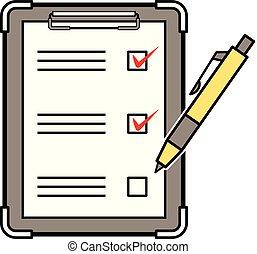 lista de verificação, e, caneta esferográfica