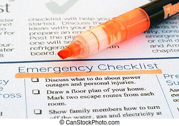 Lista de verificação, emergência