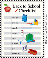 lista de verificação, escola, costas