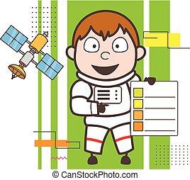 lista de verificação, mostrando, ilustração, vetorial, astronauta, caricatura