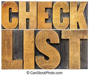 lista de verificação, palavra, tipografia
