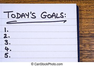 lista de verificação, para, todays, metas